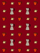 Colored Background Art - Carafe And Mugs Of Coffee On A Cranberry Background by Lana Sundman