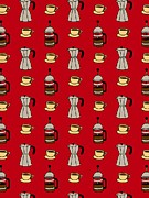 Colored Background Art - Carafe And Mugs Of Coffee On A Red Background by Lana Sundman