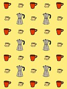 Colored Background Art - Carafe And Mugs Of Coffee On A Yellow Background by Lana Sundman