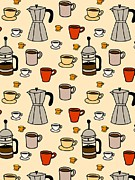 Colored Background Art - Carafes, Coffee Presses, And Coffee Mugs On A Beige Background by Lana Sundman