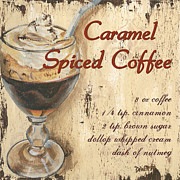 Red Cup Coffee Posters - Caramel Spiced Coffee Poster by Debbie DeWitt