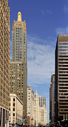 Urban Scenes Photo Metal Prints - Carbide and Carbon and Wrigley Building - Two Chicago Classics Metal Print by Christine Till