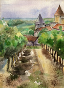 Languedoc Prints - Carcassonne Print by Lydia Irving