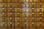 Drawers Prints - Card Catalog Drawers Print by Jeremy Woodhouse