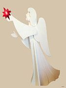 Gold Angel Card Posters - Card Of The Holiday Poster by Debra     Vatalaro