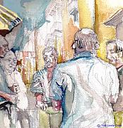 Games Pastels - Card Players in Napoli by Linette Childs