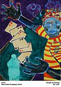 Card Players Prints - Card Print by Red Jordan Arobateau