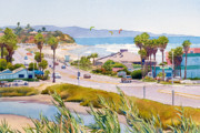 California Coast Paintings - Cardiff Restaurant Row by Mary Helmreich