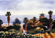 Guard Painting Prints - Cardiff State Beach Print by Mary Helmreich