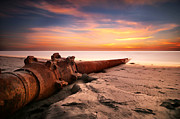 California Surf Prints - Cardiff State Beach Sand Dredge Print by Larry Marshall