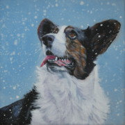 Corgi Dog Portrait Posters - Cardigan Welsh Corgi in snow Poster by Lee Ann Shepard