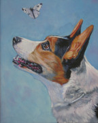 Corgi Dog Portrait Posters - Cardigan Welsh Corgi Poster by Lee Ann Shepard