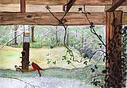 Back Porch Paintings - Cardinal-Back Porch Picnic by June Holwell