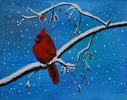 Red Cardinals In Snow Prints - Cardinal Christmas Print by Leslie Allen