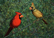Texas Paintings - Cardinal Couple by James W Johnson
