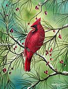 Red Cardinal Framed Prints - Cardinal Framed Print by David G Paul