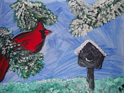 Snowy Evening Posters - Cardinal in Pine Poster by Rebecca Bell