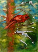 Red Cedar Painting Acrylic Prints - Cardinal in Snowy Cedar Acrylic Print by Carol Berning