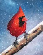 Wintry Pastels Prints - Cardinal In Winter Print by Joyce Geleynse