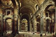 Vatican Paintings - Cardinal Melchior de Polignac Visiting St Peters in Rome by Giovanni Paolo Pannini or Panini
