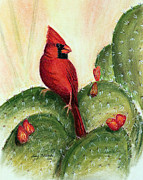 Cactus Pastels - Cardinal on Prickly Pear Cactus by Judy Filarecki