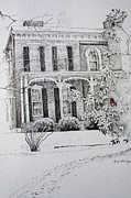 Historic Home Drawings Metal Prints - Cardinal Metal Print by Patsy Sharpe