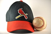 St.louis Cardinals Posters - Cardinals Cap and a Baseball Poster by Tim Elliott