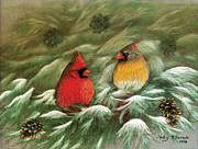 Cardinals In Snow Posters - Cardinals in Winter Male and Female Cardinals Poster by Judy Filarecki