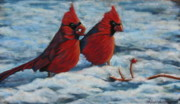 Snow Scene Pastels Posters - Cardinals in winter Poster by Tracey Hunnewell