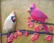 Handcarved Art - Cardinals on Cherry Wood by Michael Pasko