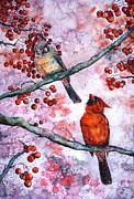 First Snow Paintings - Cardinals  by Zaira Dzhaubaeva