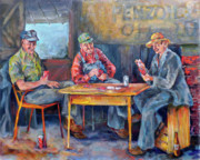 Playing Painting Originals - Cardplayers by Jean Groberg
