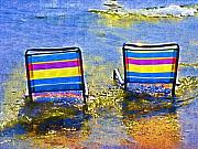 Chairs Mixed Media Framed Prints - Care to Join Me Framed Print by Deborah MacQuarrie