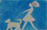 Dog Walking Pastels Posters - Carefree Poster by Kate Hopson
