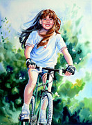 Girl On Bike Framed Prints - Carefree Summer Day Framed Print by Hanne Lore Koehler