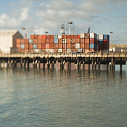 Blue Collar Framed Prints - Cargo Shipping Containers on a Dock Framed Print by Eddy Joaquim