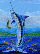 Black Marlin Framed Prints - Caribbean Blue Framed Print by Carey Chen