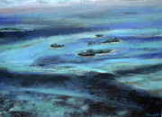 Arial View Painting Metal Prints - Caribbean Blue Metal Print by Tom Smith