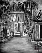 Barn Yard Drawings Prints - Caribbean Country House Print by Laura Fatta