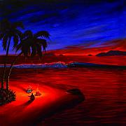 Tropical Sunset Painting Framed Prints - Caribbean Dreaming Framed Print by Patrick Parker