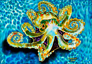 Sealife Tapestries - Textiles Metal Prints - Caribbean Octopus Metal Print by Helen Choiseul Jean-Baptiste