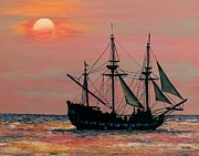 Ocean Sunset Prints - Caribbean Pirate Ship Print by Susan DeLain