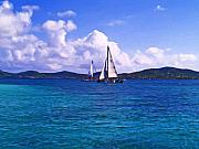 Caribbean Sea Paintings - Caribbean Sailing by Linda Morland