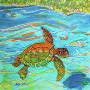 Sea Tapestries - Textiles Framed Prints - Caribbean Sea Turtle  Framed Print by Kelly     ZumBerge