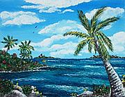 Greeting Cards Drawings Posters - Caribbean Shore Poster by Anastasiya Malakhova