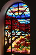Red Glass Art Prints - Caribbean Stained Glass  Print by Alice Terrill
