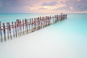 Wooden Post Framed Prints - Caribbean Sunset Framed Print by Enzo Figueres