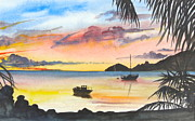 Landscape With Mountains Drawings Framed Prints - Caribbean Sunset Framed Print by Lisa Wright