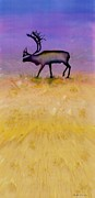 Batik Tapestries - Textiles Posters - Caribou on the Tundra 2 Poster by Carolyn Doe