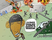 Obama Mixed Media - Caricature de Obama et le coup de Seal Team 6 sur Osama by OptionsClick BlogArt